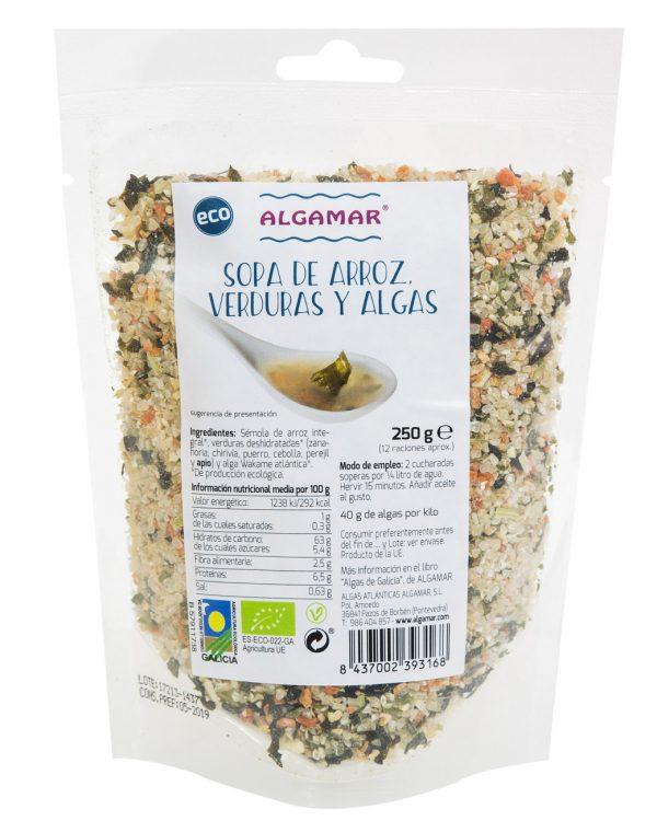 sopa de arroz con algas