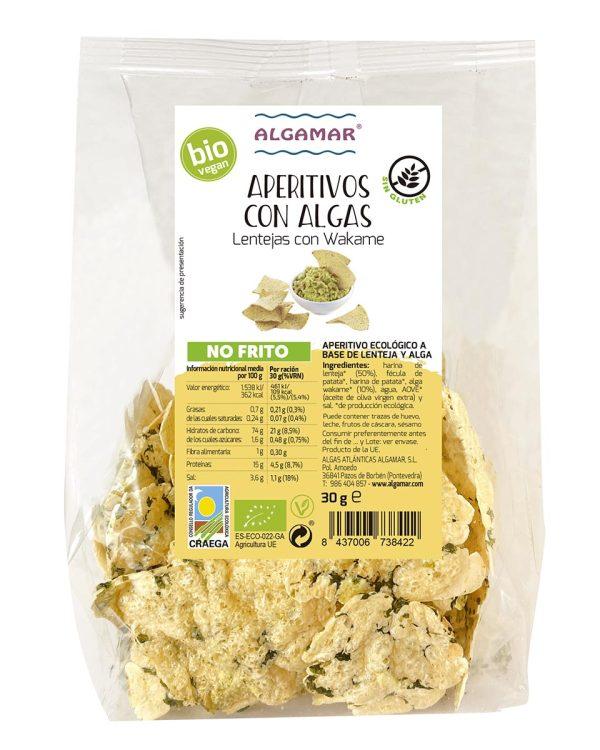 snacks de legumbres con algas