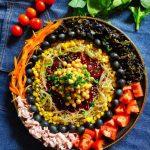 ensalada de legumbres y algas
